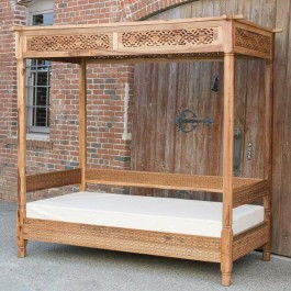Mughal Garden Hand Carved Geometry Canopy Daybed