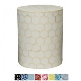 Maaya Bone Inlay Round drum Side Table White Honeycomb L
