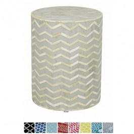 Maaya Bone Inlay Round drum Side Table Grey Zigzag L