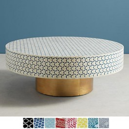 Maaya Brass Bone Inlay Round drum Coffee Table Blue Daisy