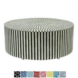 Maaya Bone Inlay Round drum Coffee Table Black Striped