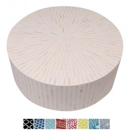 Maaya Bone Inlay Round drum Coffee Table Striped