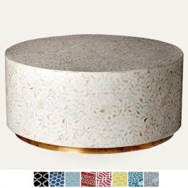 Maaya Brass Bone Inlay Round drum Coffee Table White floral