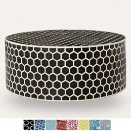 Maaya Bone Inlay Round drum Coffee Table Black Honeycomb