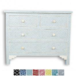 Maaya Bone Inlay Chest of 4 drawers dresser Blue Geometrical