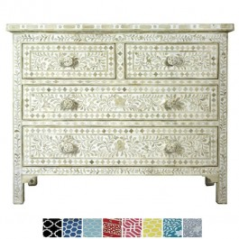 Maaya Bone Inlay Chest of 4 drawers dresser White floral