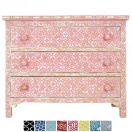 Maaya Bone Inlay Chest of 3 drawers Pink Mother of pearl