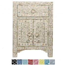 Maaya Mother of pearl Bedside cabinet Lamp table White