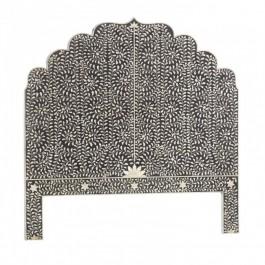 Maaya Bone Inlay Queen headboard bed head Black Floral
