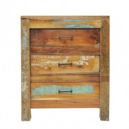 Nirvana Reclaimed timber 3 Drawer Bedside cabinet lamp table