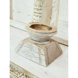 Antique Indian Wooden Seed Dispenser rustic Carved Wood Candle holder whitewash