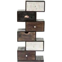 Vivid Noir Contemporary Mango Wood Zigzag Display shelf 50x30x115cm