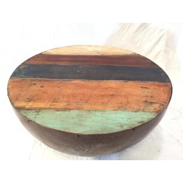 Solid Reclaimed Wood Indian Hand carved round Cofee Table Natural 74x74x40cm