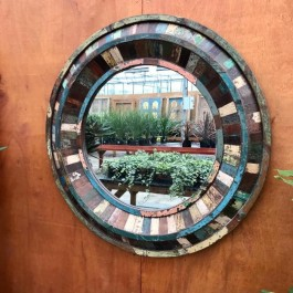 Aspen Indian Reclaimed Wood Round Wall Mirror 120 x 120cm