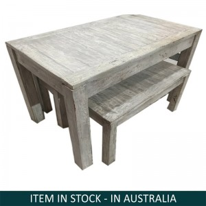 Nirvana Grey wash Dining Bench Setting, Reclaimed wood bench set, Small bench set Australia, Bench Setting Australia, Small Dining Bench Set, Reclaimed wood bench setting