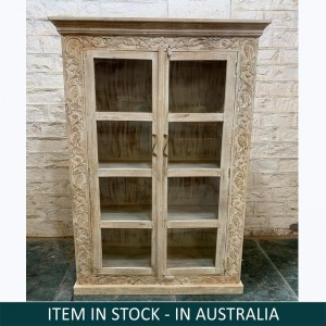 Floral Hand Carved Indian Solid Wood Cabinet With Glass Doors Natural