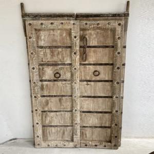 Indian Antique Solid Wood Hand Carved Door Whitewash 188cm