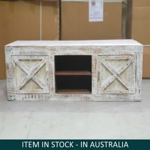 X-Design Indian Solid Wood Tv Unit  With X-Design Doors Whitewash