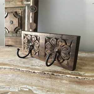 Floral Hand Carved Indian Wooden Coat Rack Wall Hanger With 2 Hooks