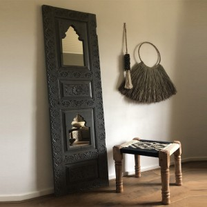 Floral Hand Carved Indian Solid Wood Single Door With Mirror Black 197cm