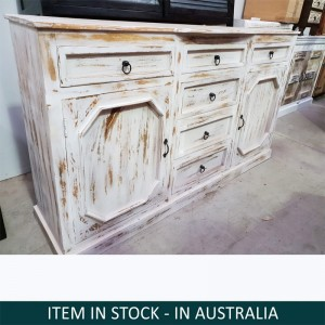 Cromer Indian Solid Wood Sideboard With Drawers White