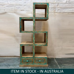 Solid Mango Wood Indian Hand Carved ZigZag Bookshelf Natural Turqouise
