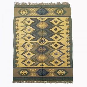 Kilim Wool Handwoven Woollen Dhurrie Durry Rug Jute Floor Covering Pattern 3