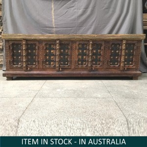 Indian Antique Solid Wood Brass work Sideboard Brown