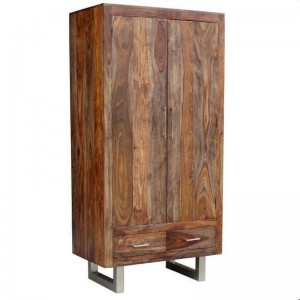 Cromer Indian Solid Wood Wardrobe Cabinet Natural  D 60x W 100 x H 200 Cm
