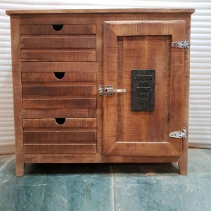 Industrial solid wood Small sideboard Brown