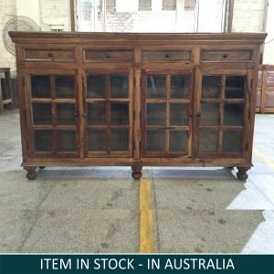 Cromer Indian Solid Wood Buffet Sideboard With Glass Doors And Drawers