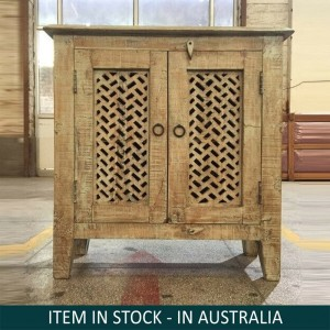 Mandala Hand Carved Indian Solid Wood Buffet Sideboard With Jali Doors