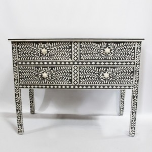 Maaya Bone Inlay sideboard Black and White Floral S