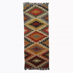 Kilim Handwoven Wool Woollen Dhurrie Durry Rug Jute Floor Runner Hallway Pattern 1