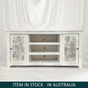Indian Solid Wood Whitwashed Sideboard 162x45x85 cm