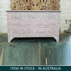 Maaya Bone Inlay Chest Of Drawer Pink White Floral Pattren B