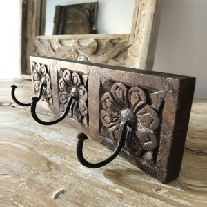 Floral Hand Carved Indian Wooden Coat Rack Wall Hanger With 3 Hooks