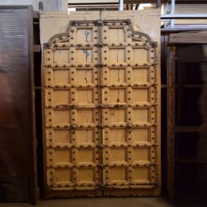 Indian Antique Old Door Solid Wood Hand Carved Extra Large Door Yellow