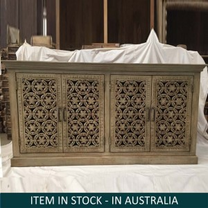 Floral Hand Carved Indian Solid Wood Long Sideboard Brown