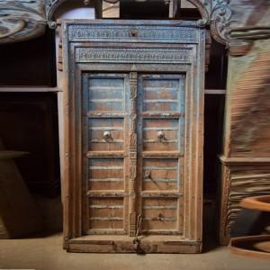 Indian Antique Old Door Solid Wood Hand Carved Large Door Blue