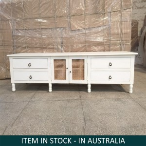 Indian Wooden Large Tv Unit Table White 210 cm
