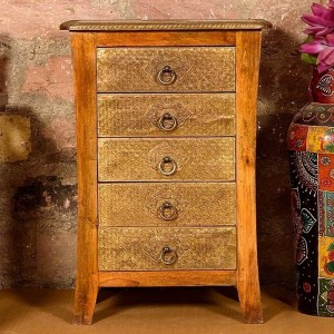 Embossed Antique Brass work Murad Chest Of Drawer Ethnic Piece Of Furniture