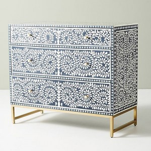 Maaya Bone Inlay Chest Of Drawer Blue White Floral Pattren