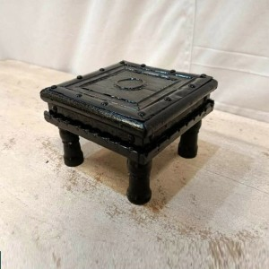 Indian Solid Wood Black Bajot Small Stool Black Finish 15x15x9 cm