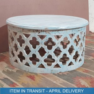 Bristol Indian Solid Wood Round Coffee Table Blue tone 80x80x40 cm