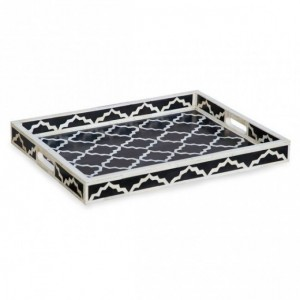 Maaya Bone Inlay Serving Tray - Moroccan Design Black 49x39x5cm