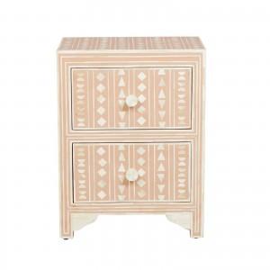 Maaya Bone inlay Floral 2 drawer bedside lamp table