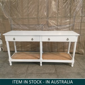 Indian Wooden Large Study Desk Table White 185 cm