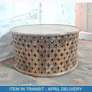 Bristol Indian Solid Wood Hand Carved Round Coffee Table Natural 80x80x40 cm