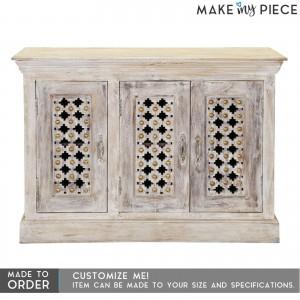 Antique Brass work Solid wood Sideboard Whitewash